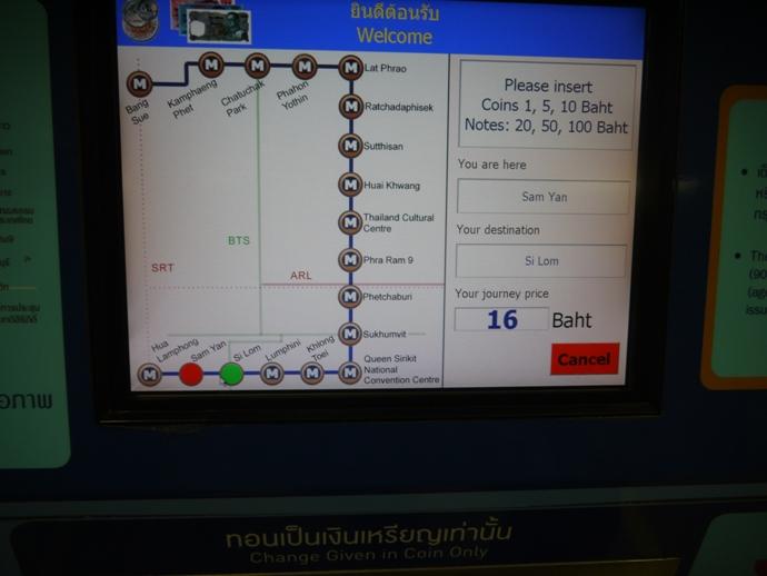 Huong dan cach di tau dien Bangkok - Man hinh may ban ve MRT