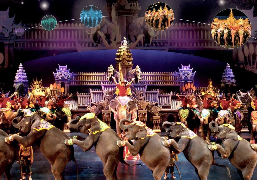 Bối cảnh quy mô và hoành tráng của Phuket FantaSea Show sẽ khiến bạn choáng ngợp