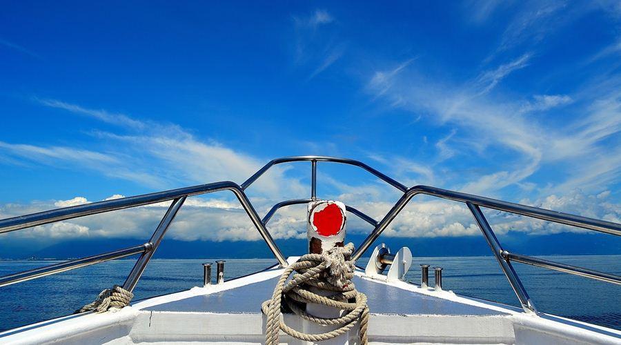 Con tàu sẽ đưa du khách ra biển ngắm những người bạn cá voi
