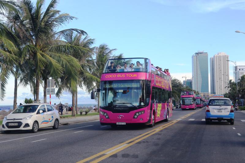 Bus Coco có màu hồng tím đặc trưng