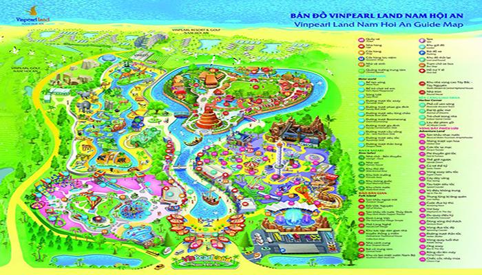 """Bạn cần có một tấm bản đồ như này để không bị """"lạc lối"""" giữa khu công viên rộng lớn. Nguồn: namhoian.vinpearlland.com"""