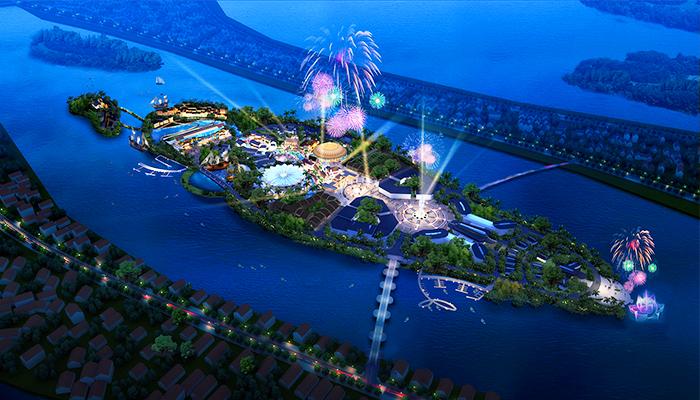 Công viên chủ đề Ấn Tượng nằm giữa cồn Hến được chọn là điểm thích hợp nhất để tổ chức buổi diễn. (Nguồn: baothanhnien)