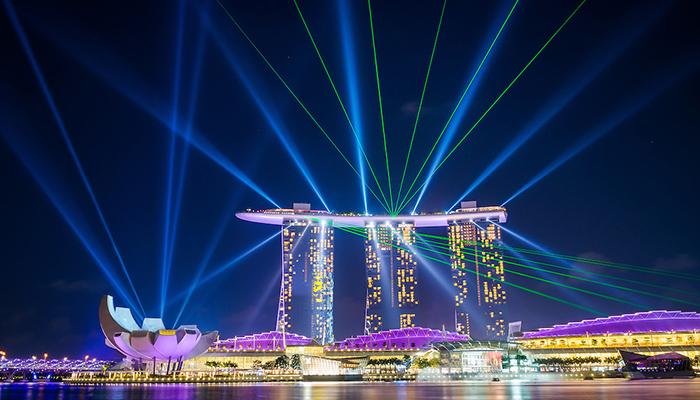 trình diễn ánh sáng marina bay