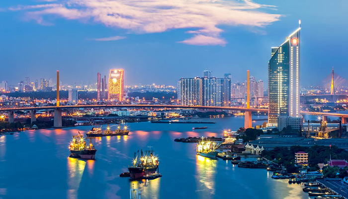 khu bờ sông bangkok