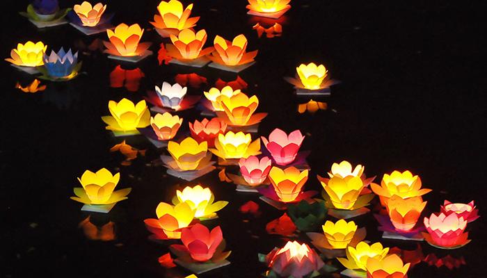 hoa đăng trong lễ hội tháp bà Ponagar