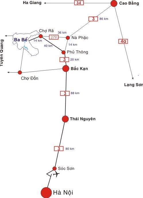Bản đồ hướng dẫn di chuyển từ Hà Nội đến Ba Bể bằng xe tự lái