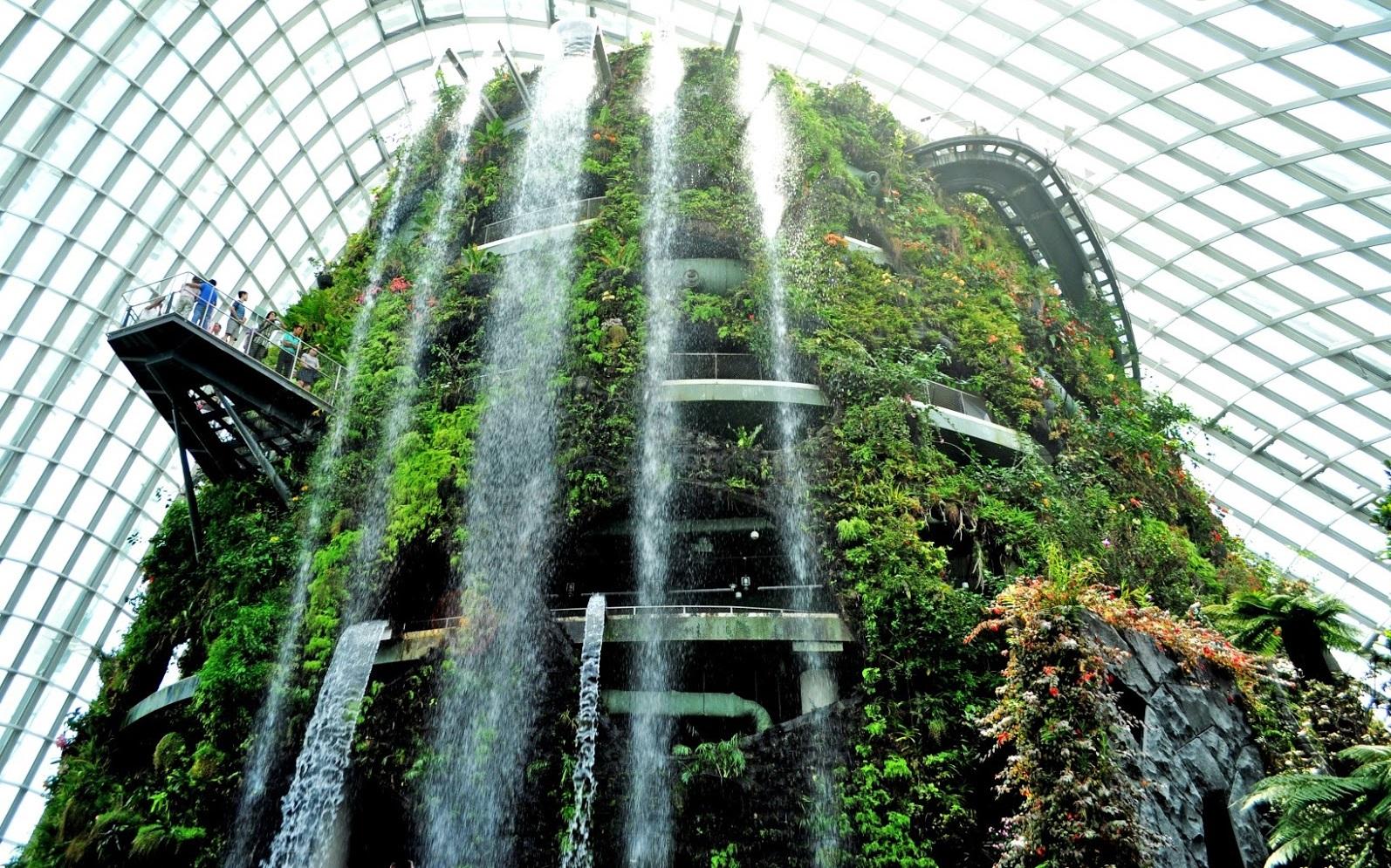 Thác nước nhân tạo mát lạnh tại Cloud Forest