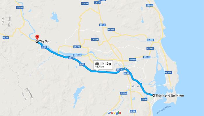 Bản đồ đi từ Quy Nhơn đến Tây Sơn.
