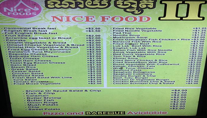 Menu với đủ loại món ăn với mức giá chỉ từ 2$ đến 5$.