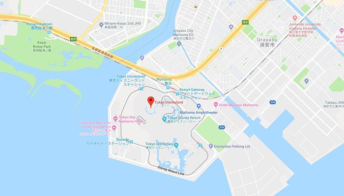 Tokyo Disney nằm ngay vùng vịnh Tokyo nhìn ra biển. (Nguồn: googlemap)